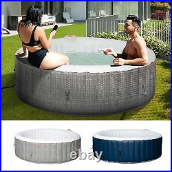 4-6 Person Portable Hot Tub Spa Outdoor Round Heated Spa with 130 Bubble Jets