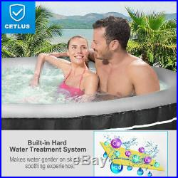 4-Person Inflatable Hot Tub Portable Outdoor Bubble Jet Leisure Massage Spa Gray
