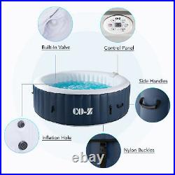 4-Person Round Inflatable Spa Tub w 120 Bubble Jets for Backyard Patio and More