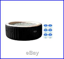4 Person Spa Inflatable Portable Hot Tub Six Filter Cartridges Bubble Massage
