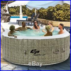 6 Person Coffee Inflatable Hot Tub Outdoor Massage Spa with Cover Ships Free