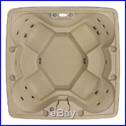 6 Person Hot Tub Spa Therapeutic Swim 18 Heated Jets Large Sauna LED Light Cover
