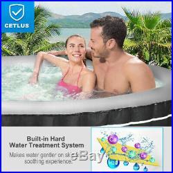 6-Person Inflatable Hot Tub Portable Spa Bubble Jet Leisure Massage Spa Gray