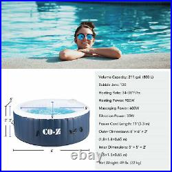 6x6ft Inflatable Spa Tub Portable Jacuzzi with 120 Jets & Air Pump Ideal for 4
