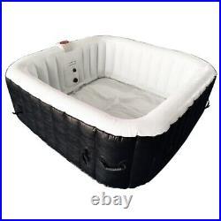 ALEKO Square Inflatable Hot Tub Spa With Cover 4 Person 160 Gallon Black/White