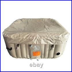 ALEKO Square Inflatable Portable Hot Tub Personal Spa, 4 Person 160 Gallon Brown