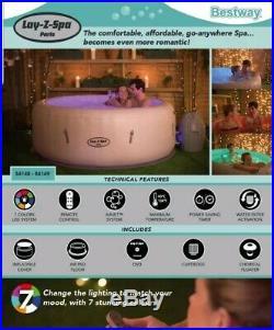 Bestway Lay-Z-Spa Paris Inflatable Hot Tub 4-6 People LED Lighting NEW Free P&P
