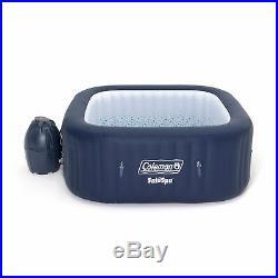 Coleman SaluSpa 4 Person Square Portable Inflatable Hot Tub Spa, Blue (Open Box)