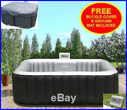 Heated Hot Tub Jacuzzi Spa\Outdoor Garden Inflatable Pool Square 4 Seater Person