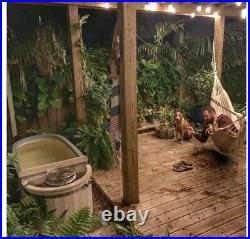 Hot Tub Spa 2 Person Pine Wood With Cover Portable Outdoor Indoor Charcoal Stove