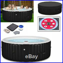 Inflatable Hot Tub Portable Spa 4 Person Massage Tubs Pool Heated Bubble Black