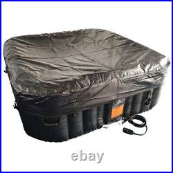 Inflatable Hot Tub Square 4 Person Black Outdoor Portable Bubble Jet Spa w Cover