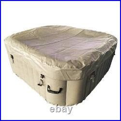 Inflatable Hot Tub Square 6 Person Beige Portable Bubble Jet Spa Outdoor w Cover