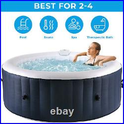 Inflatable Hot Tub with 120 Bubble Jets & Tub Cover Built in Heater/Pump for 2-4