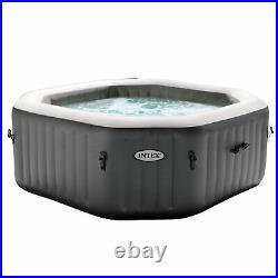 Intex 28413WL PureSpa 4 Person Octagonal Inflatable Hot Tub Spa, Gray (Open Box)
