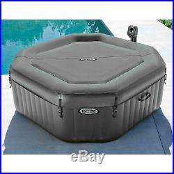 Intex 28413WL PureSpa 4 Person Portable Octagonal Inflatable Hot Tub Spa, Gray