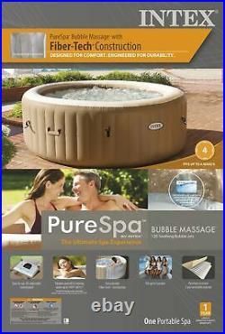 Intex 28425E New 4 Person PureSpa Bubble Massage Inflatable Hot Tub Spa