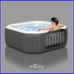 Intex 4 Person Octagonal Garden Portable Inflatable Hot Tub Spa 120 Bubble Jets