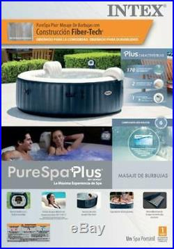Intex PureSpa 28409E 6 Person Inflatable Portable Bubble Jet Hot Tub Massage Set