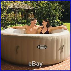 Intex PureSpa 4-Person Inflatable Bubble Jet Spa Portable Hot Tub & LED Light