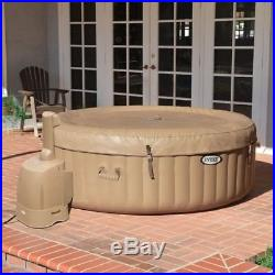 Intex PureSpa 4-Person Inflatable Bubble Jet Spa Portable Hot Tub, Tan 28403E