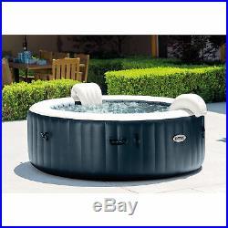 Intex PureSpa Plus 6 Person Portable Inflatable Hot Tub Bubble Jet Spa, Navy