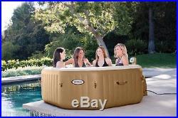 Intex Pure Spa 4-Person Inflatable Portable Octagon Heated Bubble Hot Tub 28413E