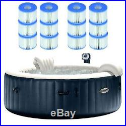 Intex Pure Spa 6 Person Outdoor Bubble Jets Hot Tub with 12 Type S1 Pool Filters