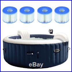 Intex Pure Spa Inflatable 4 Person Hot Tub with Type S1 Filter Cartridges (4 Pack)