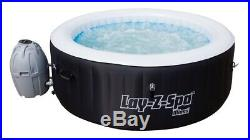 Lay-Z-Spa Miami Large 4 Person Inflatable Airjet Heated Round Hot Tub Black