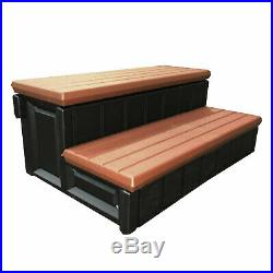 Leisure Accents 36 Deluxe Deck Patio Spa Hot Tub Steps, Redwood