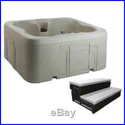 Lifesmart Spas Rock Solid Simplicity 4-Person Hot Tub Spa with Cover and Steps