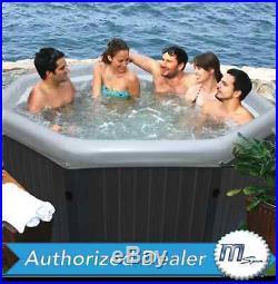 MSpa Premium Tuscany Hot Tub 4 Person Inflatable Plastic Wood Bubble Spa PM-610S