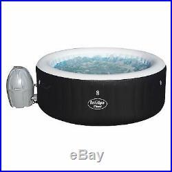 SaluSpa Miami Lay-Z Portable 4 Person Outdoor Inflatable Hot Tub Spa with Pump BLK