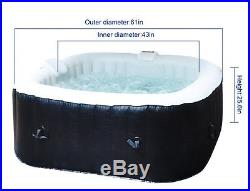 Square Outdoor Spa Hot Tub Garden 6-Person Plug and Play Portable Inflatable