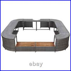 Square Spa Surround Gray 105.5x105.5 x 21.7 Poly Rattan
