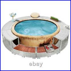 VidaXL Spa Surround Light Gray Poly Rattan Outdoor Garden Balcony Hot Tub