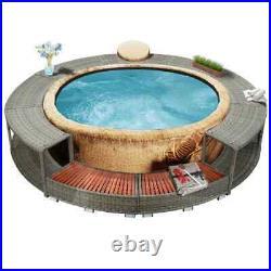 VidaXL Spa Surround Poly Rattan Black Garden Outdoor Patio Massage Hot Tub #B