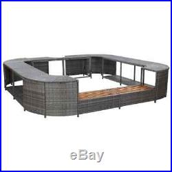 VidaXL Square Spa Surround Gray Poly Rattan Hot Tub Garden Sun Spa Enclosure
